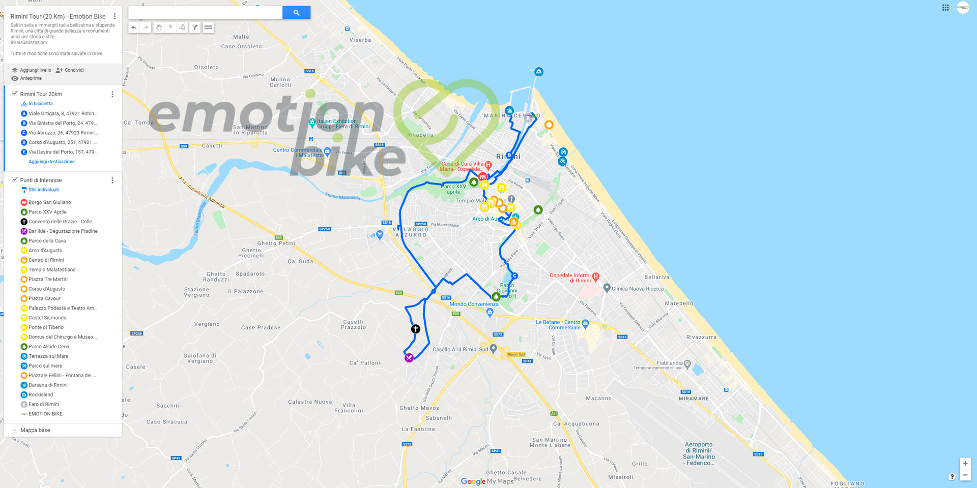 Google Maps Bici Rimini Tour
