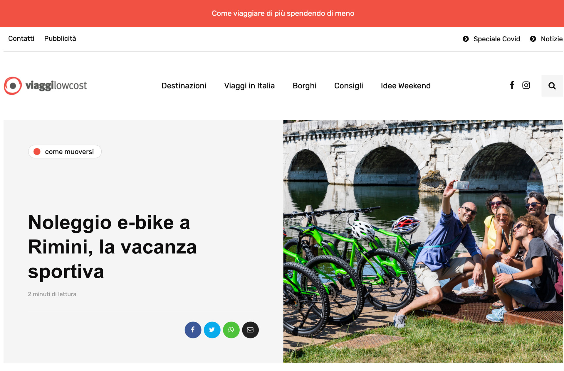 Viaggi low cost parla di Emotion Bike